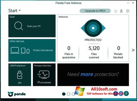 Снимка на екрана Panda за Windows 10