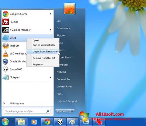 Снимка на екрана ViStart за Windows 10