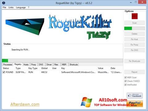 Снимка на екрана RogueKiller за Windows 10