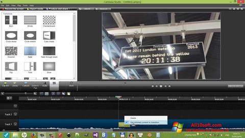 Снимка на екрана Camtasia Studio за Windows 10