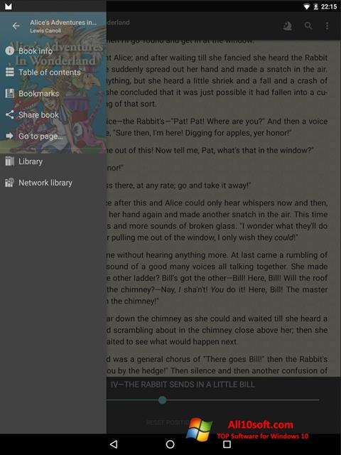 Снимка на екрана FBReader за Windows 10