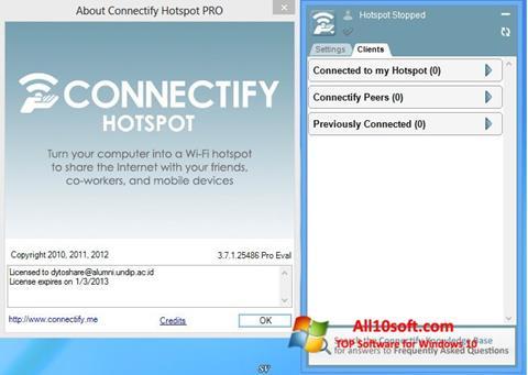 Снимка на екрана Connectify за Windows 10