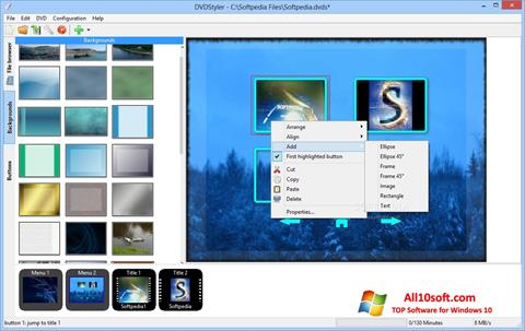 Снимка на екрана DVDStyler за Windows 10