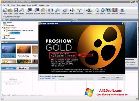 Снимка на екрана ProShow Gold за Windows 10