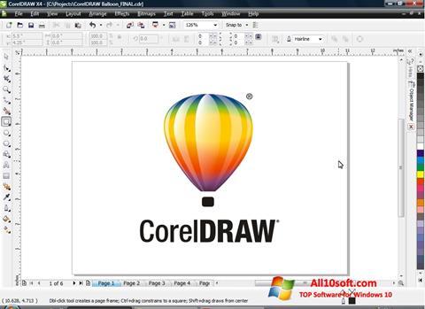 Снимка на екрана CorelDRAW за Windows 10