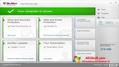 Снимка на екрана McAfee за Windows 10