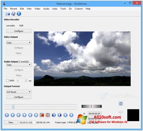 Снимка на екрана Avidemux за Windows 10