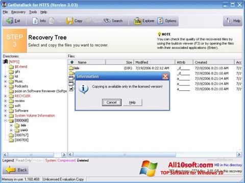 Снимка на екрана GetDataBack за Windows 10