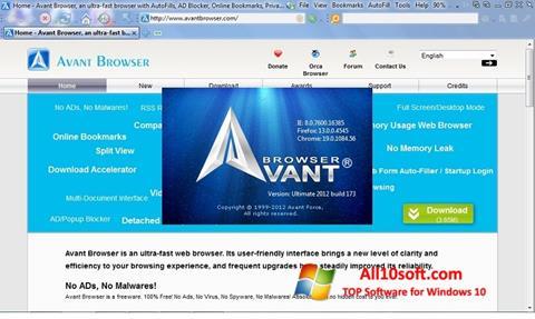 Снимка на екрана Avant Browser за Windows 10