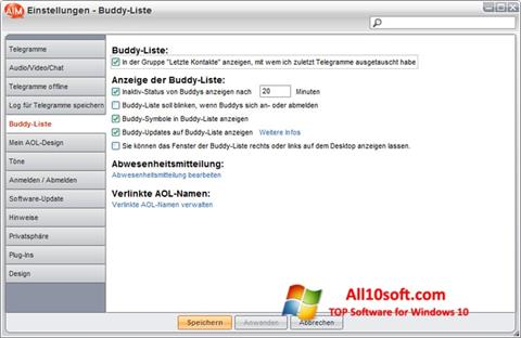 Снимка на екрана AOL Instant Messenger за Windows 10