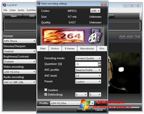 Снимка на екрана XviD4PSP за Windows 10