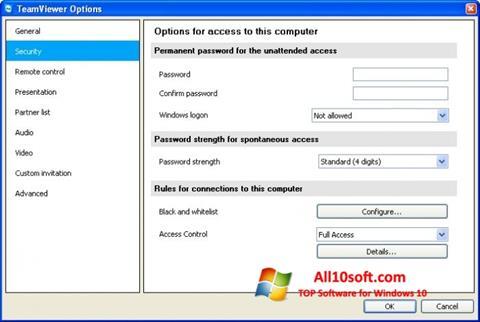 Снимка на екрана TeamViewer за Windows 10