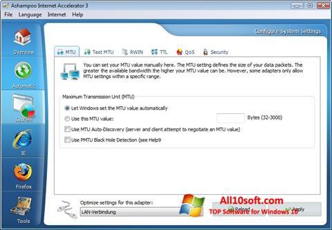 Снимка на екрана Ashampoo Internet Accelerator за Windows 10