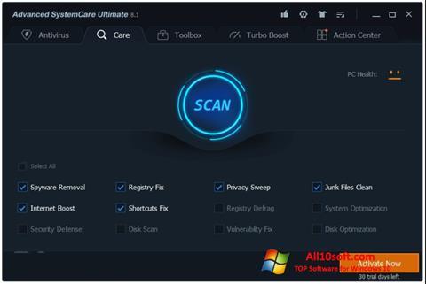Снимка на екрана Advanced SystemCare за Windows 10