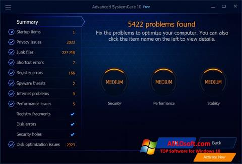 Снимка на екрана Advanced SystemCare Free за Windows 10