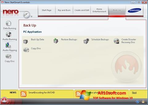 Снимка на екрана Nero за Windows 10