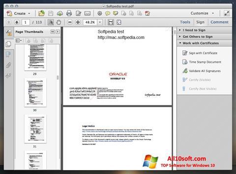 Снимка на екрана Adobe Acrobat за Windows 10