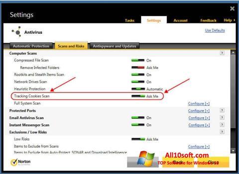 Снимка на екрана Norton за Windows 10