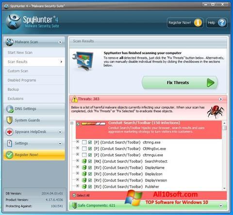 Снимка на екрана SpyHunter за Windows 10