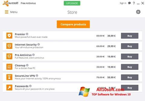 Снимка на екрана Avast Free Antivirus за Windows 10