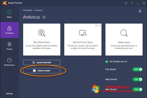 Снимка на екрана Avast за Windows 10