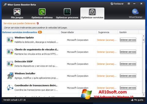 Снимка на екрана Wise Game Booster за Windows 10