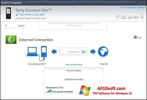 Снимка на екрана Sony PC Companion за Windows 10