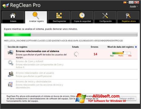 Снимка на екрана RegClean Pro за Windows 10