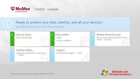 Снимка на екрана McAfee LiveSafe за Windows 10