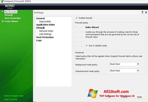 Снимка на екрана Outpost Firewall Free за Windows 10