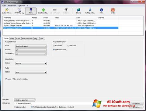 Снимка на екрана XMedia Recode за Windows 10