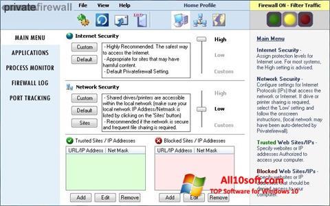 Снимка на екрана Privatefirewall за Windows 10