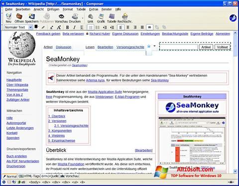 Снимка на екрана SeaMonkey за Windows 10
