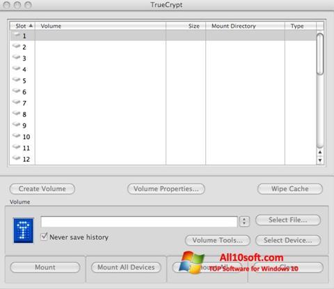 Снимка на екрана TrueCrypt за Windows 10