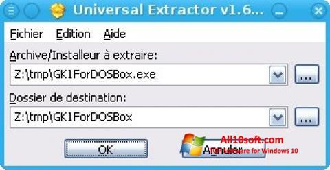 Снимка на екрана Universal Extractor за Windows 10
