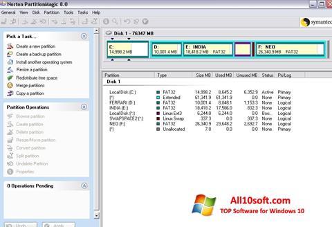 Снимка на екрана Norton Partition Magic за Windows 10