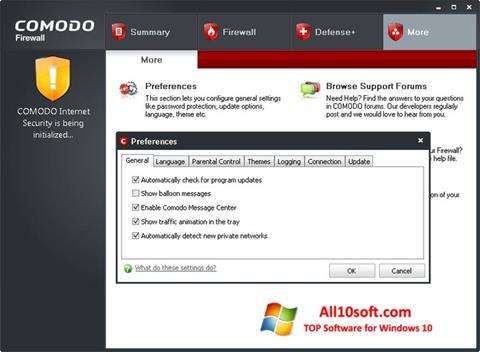 Снимка на екрана Comodo Firewall за Windows 10