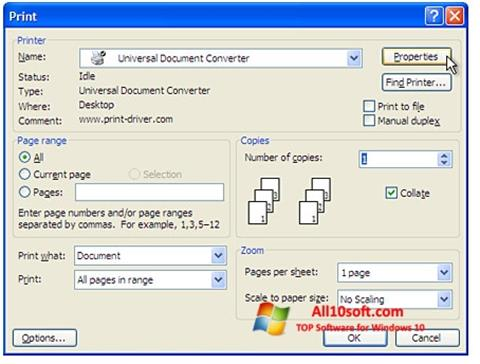 Снимка на екрана Universal Document Converter за Windows 10