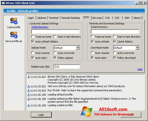 Снимка на екрана Bitvise SSH Client за Windows 10
