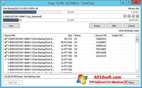 Снимка на екрана TeraCopy за Windows 10