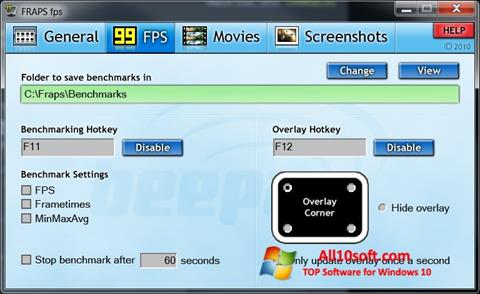 Снимка на екрана Fraps за Windows 10