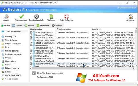Снимка на екрана Vit Registry Fix за Windows 10