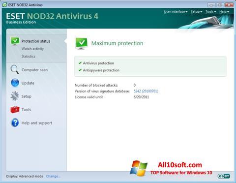Снимка на екрана ESET NOD32 за Windows 10