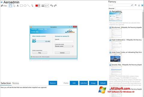 Снимка на екрана AeroAdmin за Windows 10