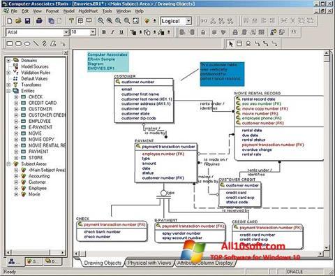 Снимка на екрана ERWin за Windows 10