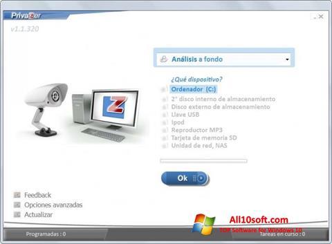 Снимка на екрана PrivaZer за Windows 10
