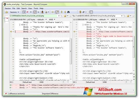 Снимка на екрана Beyond Compare за Windows 10