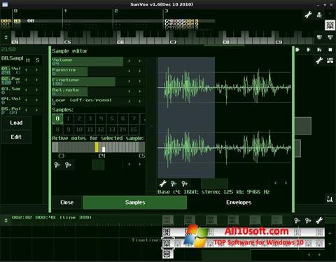 Снимка на екрана SunVox за Windows 10