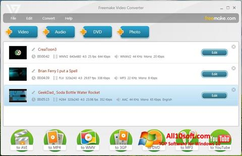 Снимка на екрана Freemake Video Converter за Windows 10