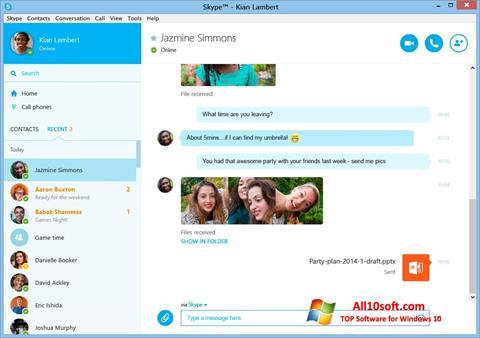 Снимка на екрана Skype за Windows 10